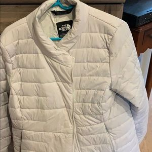 North face livery light grey down jacket